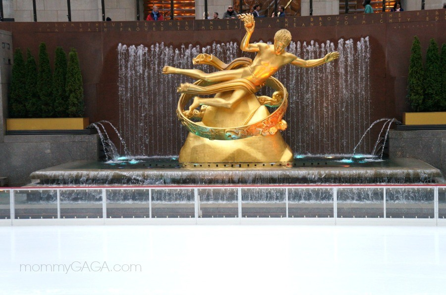 Ice skating at Rockefeller Center, NYC - Gold Prometheus statue, Rockefeller Center Ice Skating Rink