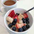 Kellogg's Frosted Mini Wheats with fresh berries for breakfast
