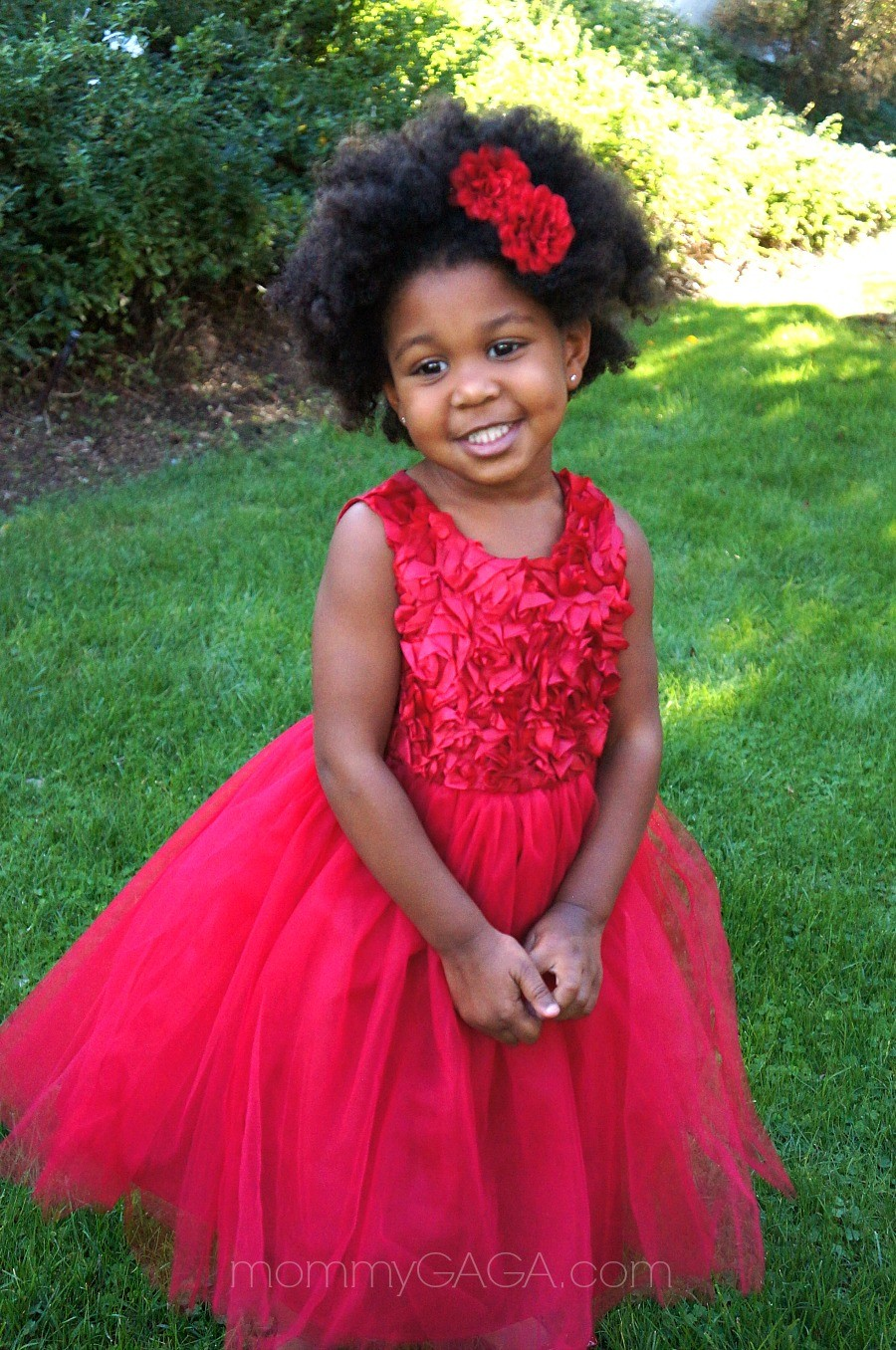 Little girl wearing Cherokee toddler red holiday dress