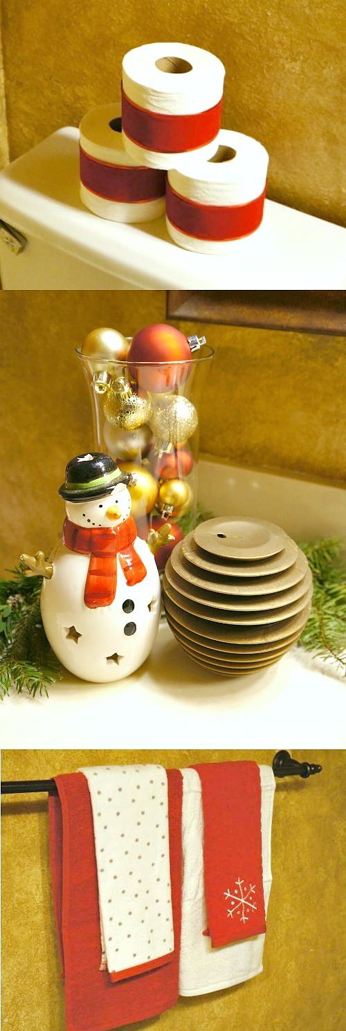 Christmas decorating ideas - love how this guest bathroom has simple but cute holiday accents. The toilet paper roll idea is so awesome!