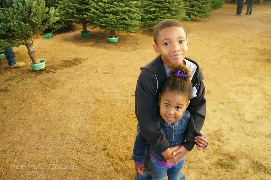 Cute kids at Family Christmas Tree Farm, El Cajon