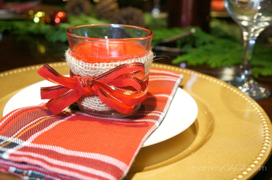 DIY Christmas Candle Favor, Holiday Table Place Setting