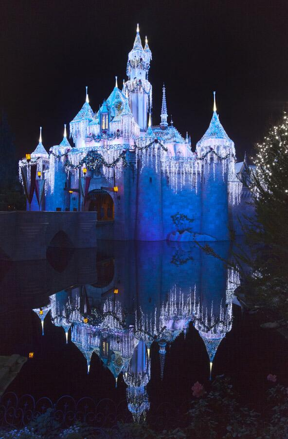 Disneyland's Sleeping Beauty Princess Castle at night, Christmas Time