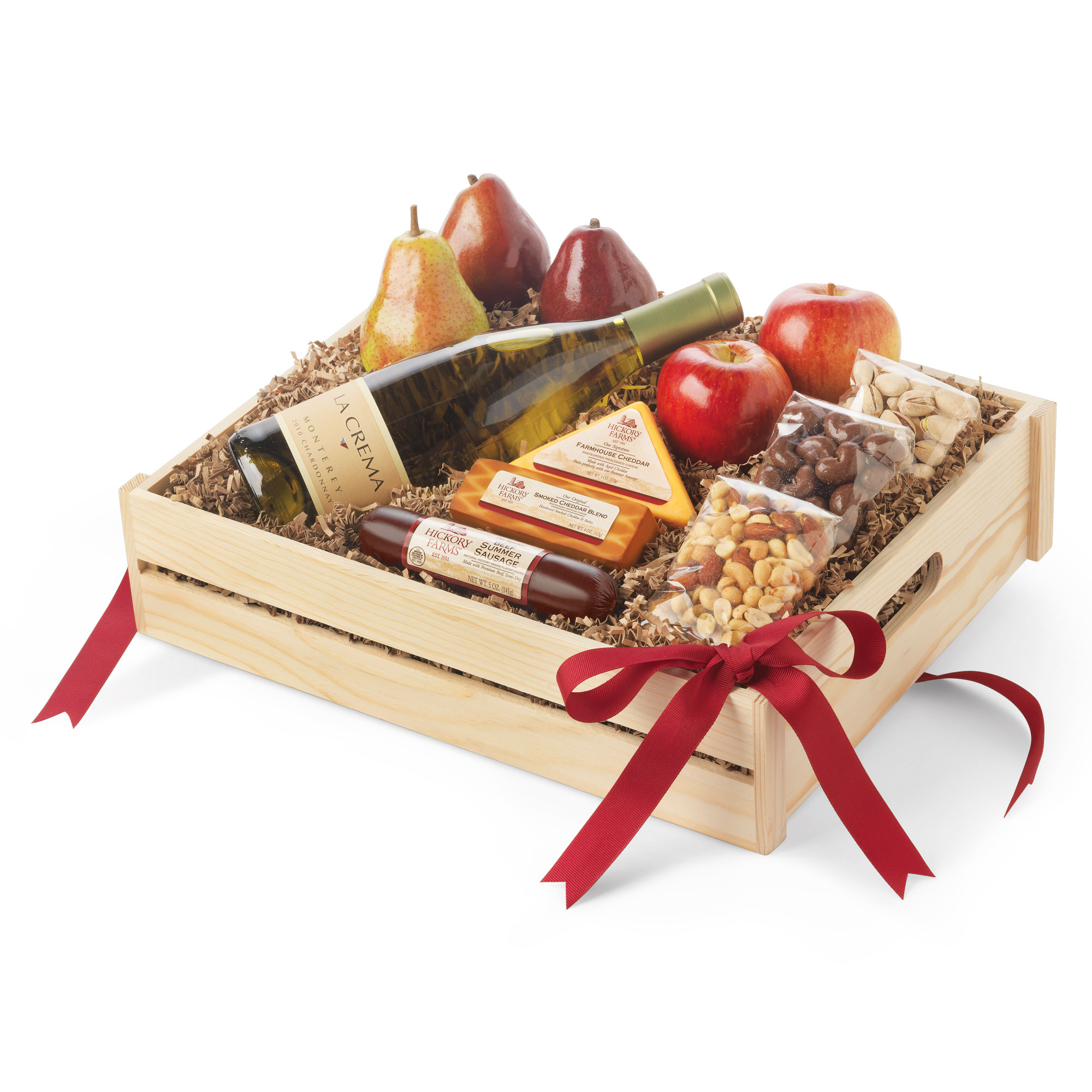 Hickory Farms Toast the Traditions Gift Box, wine, fruit, cheese, sausage, nuts