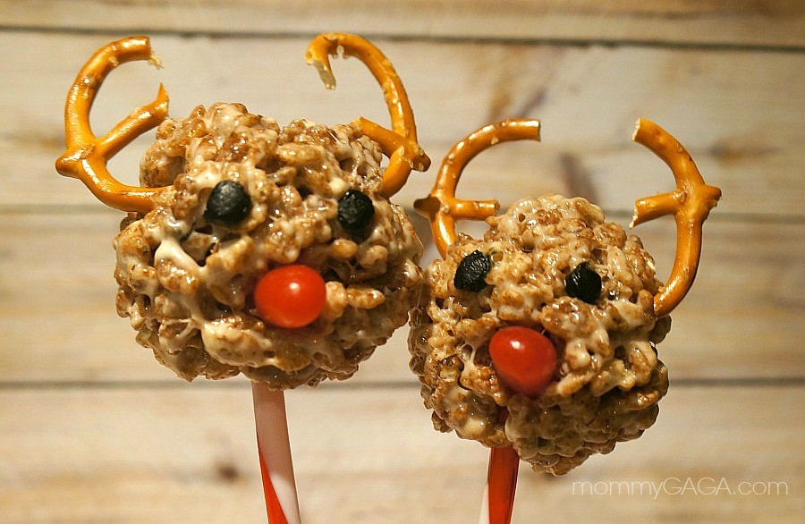 Holiday Reindeer Rice Krispies Treat Pops