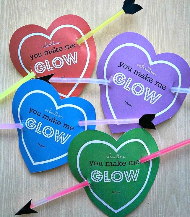 Valentines Day glow stick free printable valentine cards