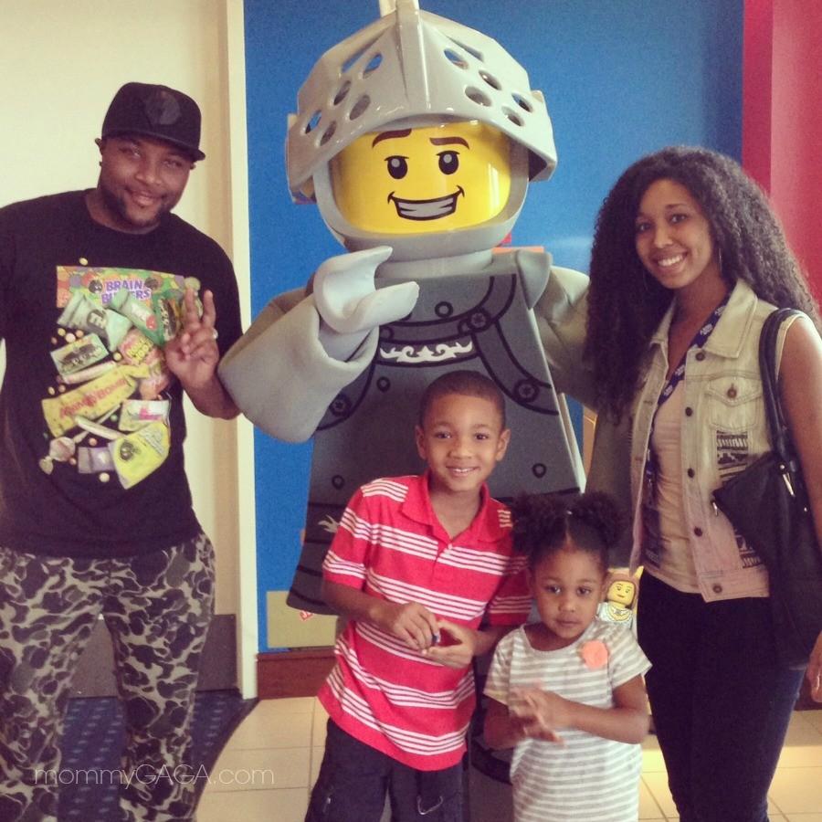 Family with Knight LEGO man at Legoland California