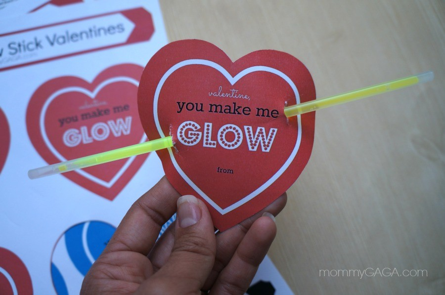 Heart Shaped Glow Stick Valentines for Kids