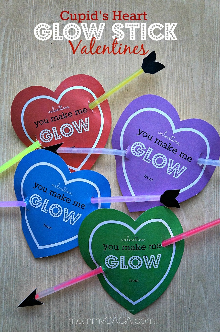 Homemade Valentines for Kids, Cupid's Heart Glow Stick Card