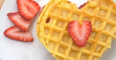 Strawberry cookie butter heart waffles for Valentine's Day Breakfast