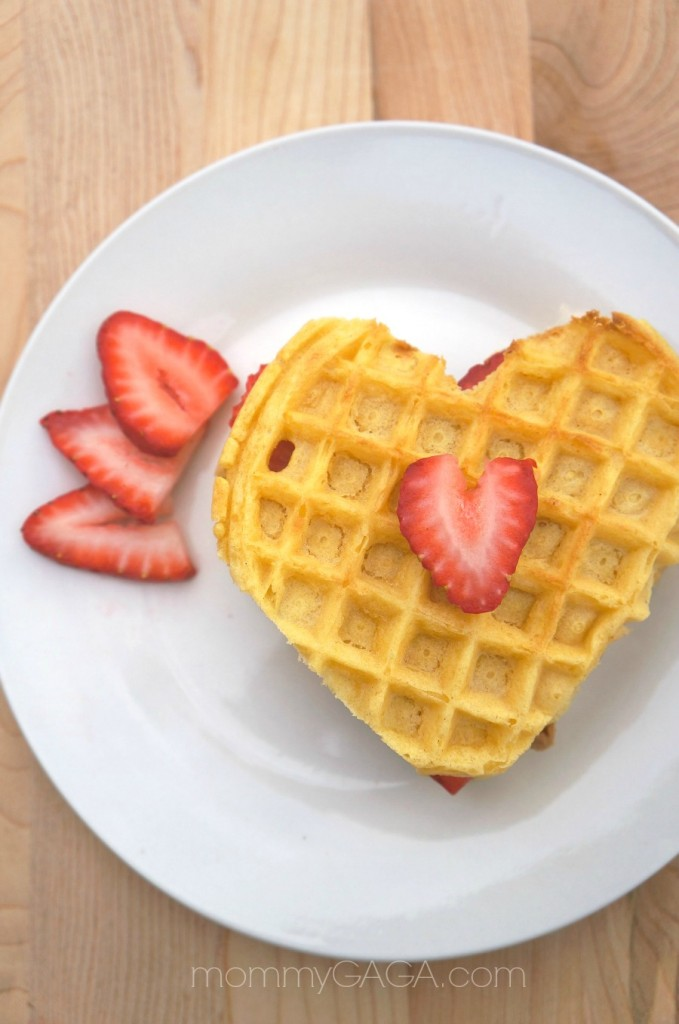 Heart Shaped Strawberry Cookie Butter Waffles for Valentine's Day Breakfast