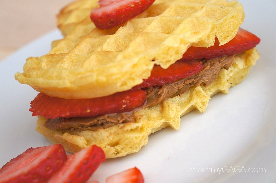 Strawberry cookie butter waffles
