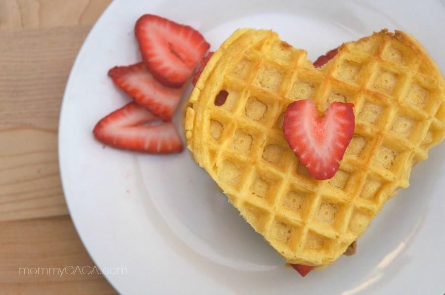 Valentine's Day Breakfast Strawberry Heart Shaped Waffles