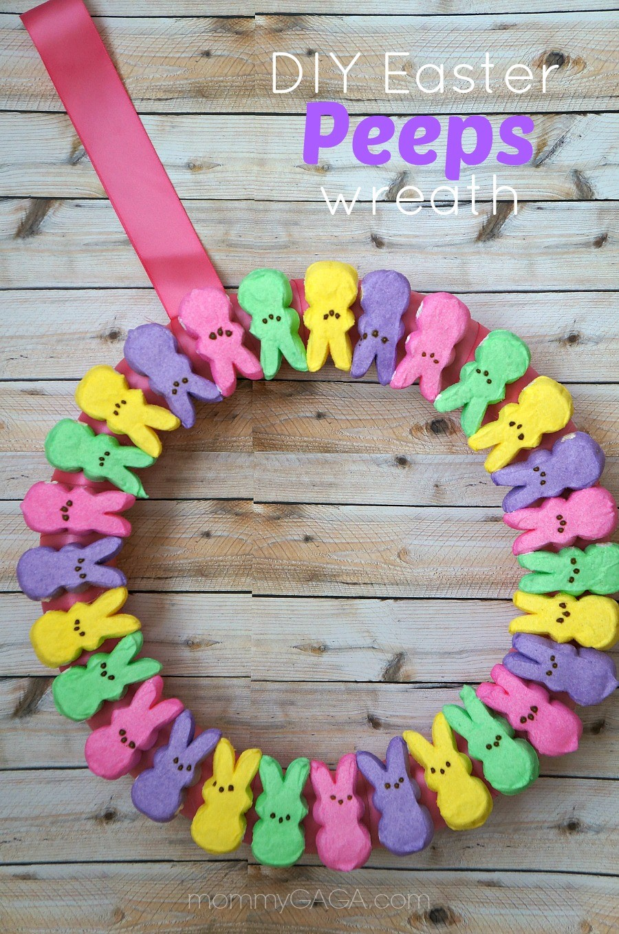 DIY Easter PEEPS wreath craft - what an adorable homemade Easter decoration!