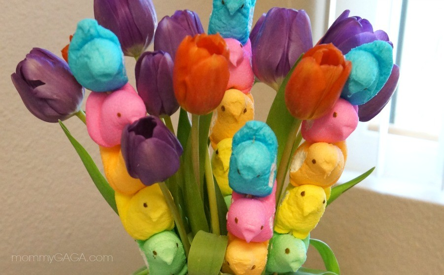We Made A Colorful Peeps Easter Flower Bouquet Honey Lime