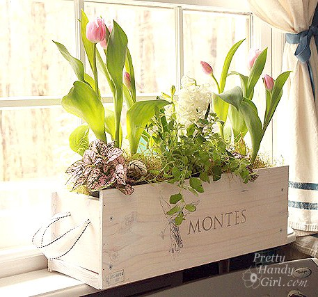 Wine crate turned indoor garden flower planter, Pretty Handy Girl