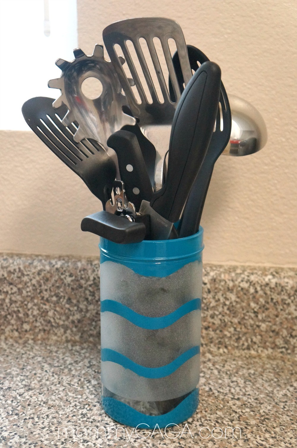A Colorful Space: This DIY Custom Kitchen Utensil Holder Matches Your Decor!