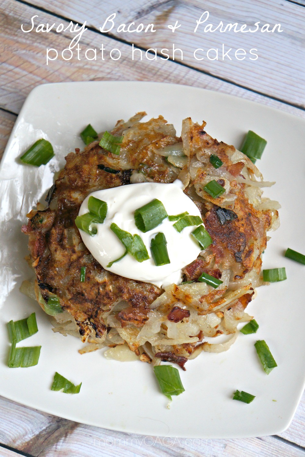 Savory Bacon and Parmesan Potato Hash Cakes #StandUpCheese