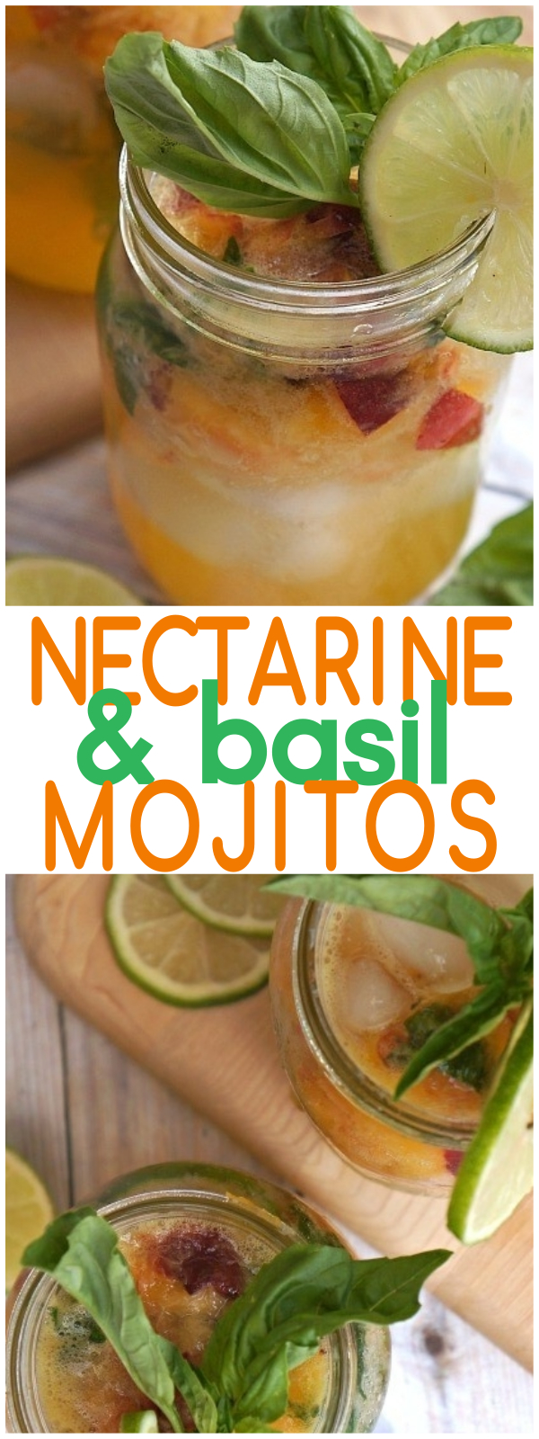 Nectarine Mojitos With Basil Cocktail - The Perfect Summer Drink - nectarine juice | basil cocktails | nectarine recipes | basil rum cocktails