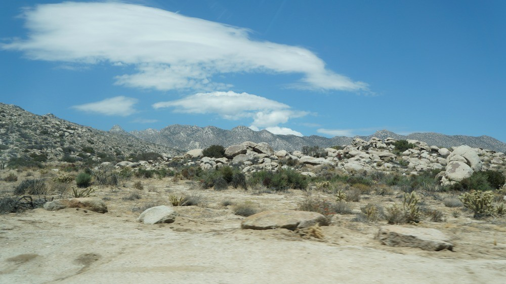 Rocks and mountain view in Anza Borrego Desert