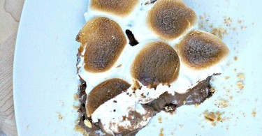 Sliced No Bake Peanut Butter S'mores Pie