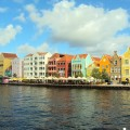 Curacao, iconic, colorful buildings in Willemstad