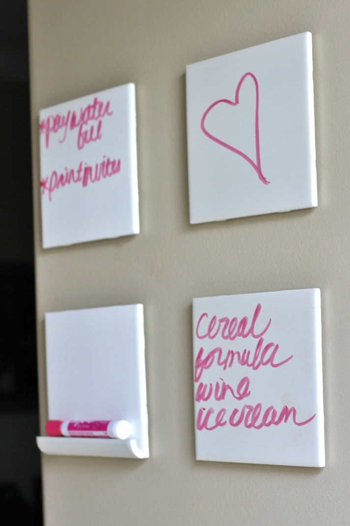 DIY dry erase board tiles on the wall
