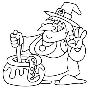 Halloween coloring pages for kids, Free Printables Cute Witch and Pot