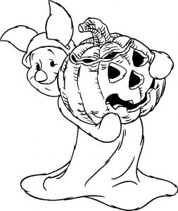 Halloween coloring pages for kids, free Printables Disney Piglet With Pumpkin