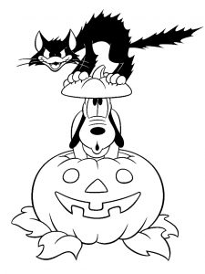 Halloween coloring pages for kids, free Printables Disney Pluto-Black-Cat