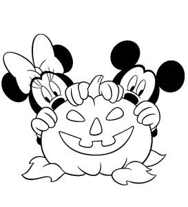 Halloween coloring pages for kids, free Printables Mickey-Minnie-Mouse