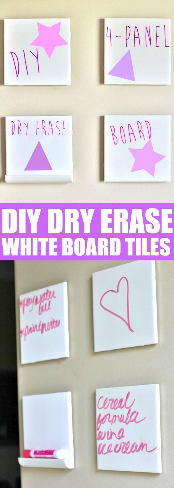 Make Your Own Diy Dry Erase White Board Tiles Craft I Love This Idea
