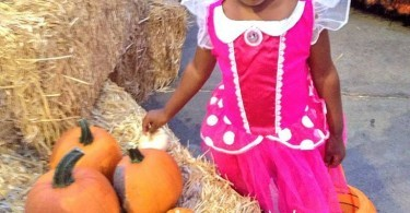 Girl choosing a pumpkin at the Boomont park pumpkin patch, Belmont Park