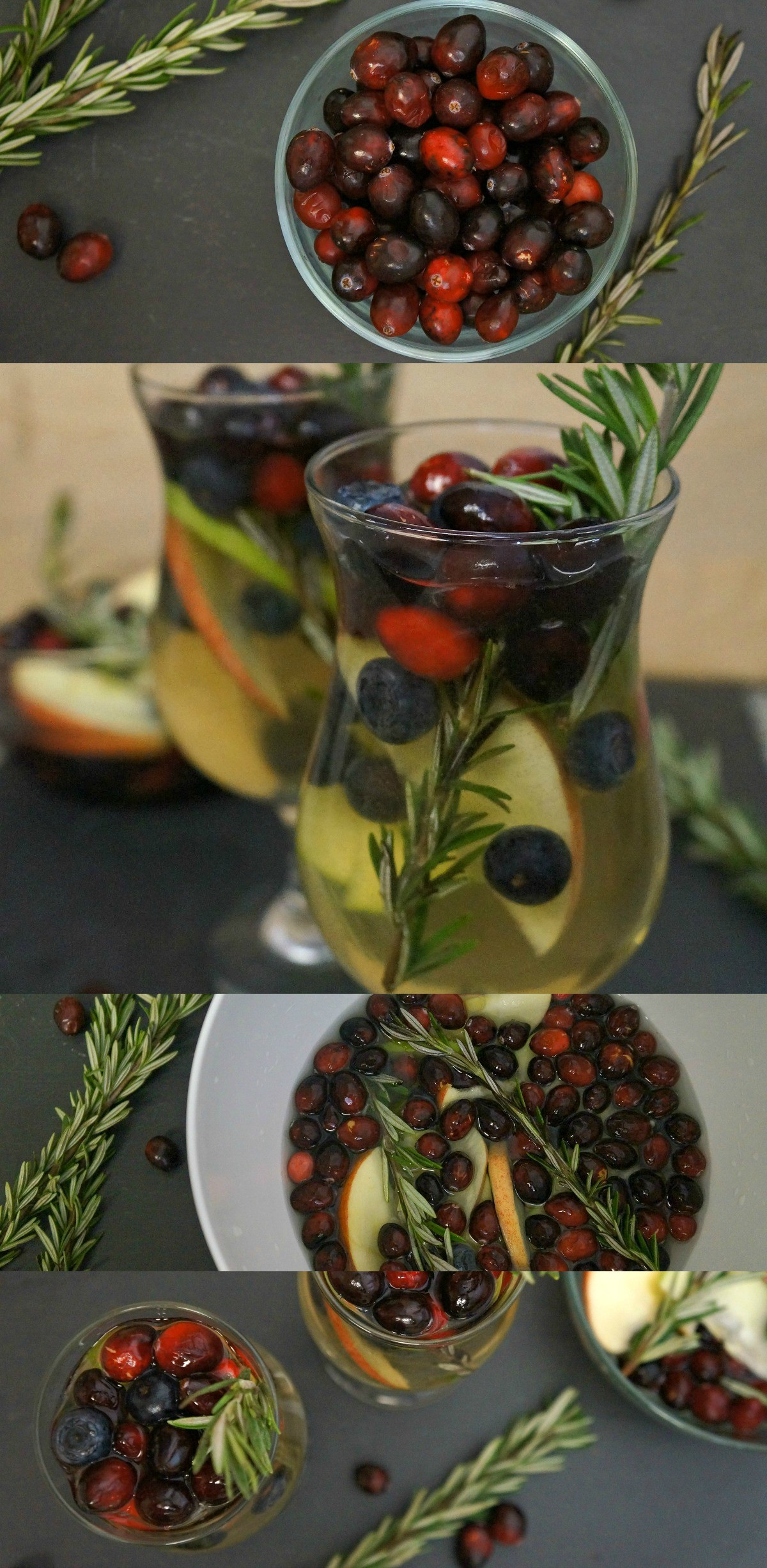 White cranberry sangria with rosemary - a delicious holiday adult drinks