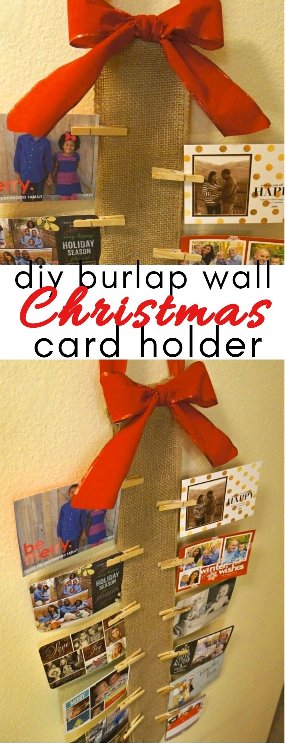 DIY Christmas card holder - Looking for creative holiday card display ideas? Do you live in a small apartment without a mantle? How about displaying them on your wall with this DIY, easy to make burlap wall Christmas card holder!