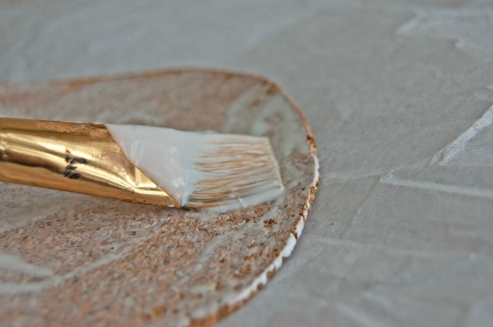 Making DIY Coasters with corkboard, apply modpodge