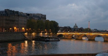 Seine River, view of the Eiffel Tower at night, Paris, France