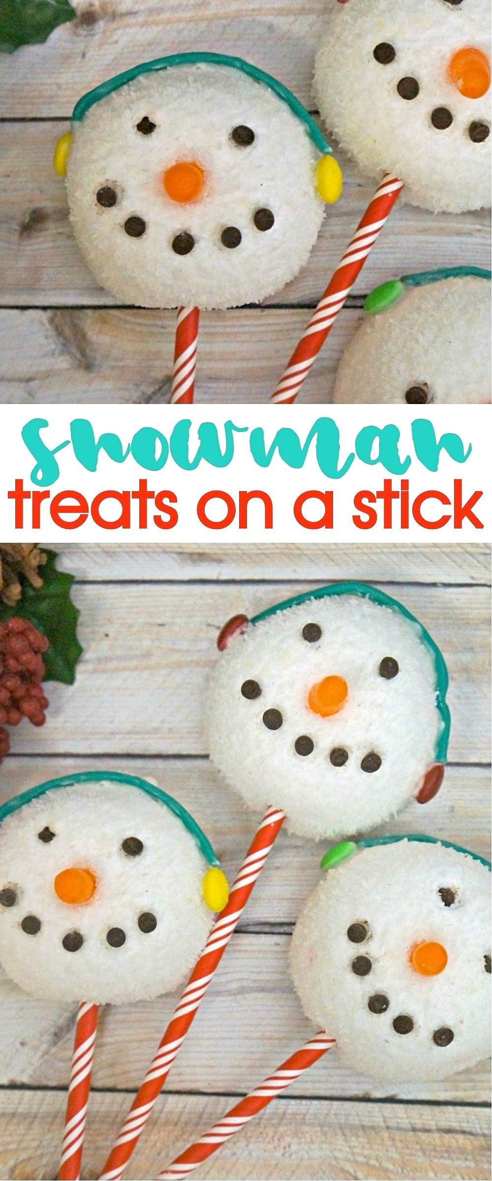 Winter Holiday Treats for kids- Make These DIY Snowman Treats On A Stick