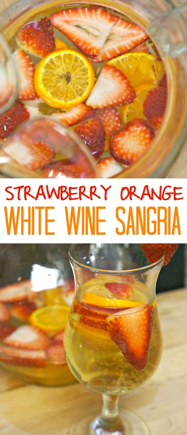 Love this Strawberry and Orange White Sangria recipe, it is SO Summer! Try making this for your next event, this is the perfect refreshing summer sangria!