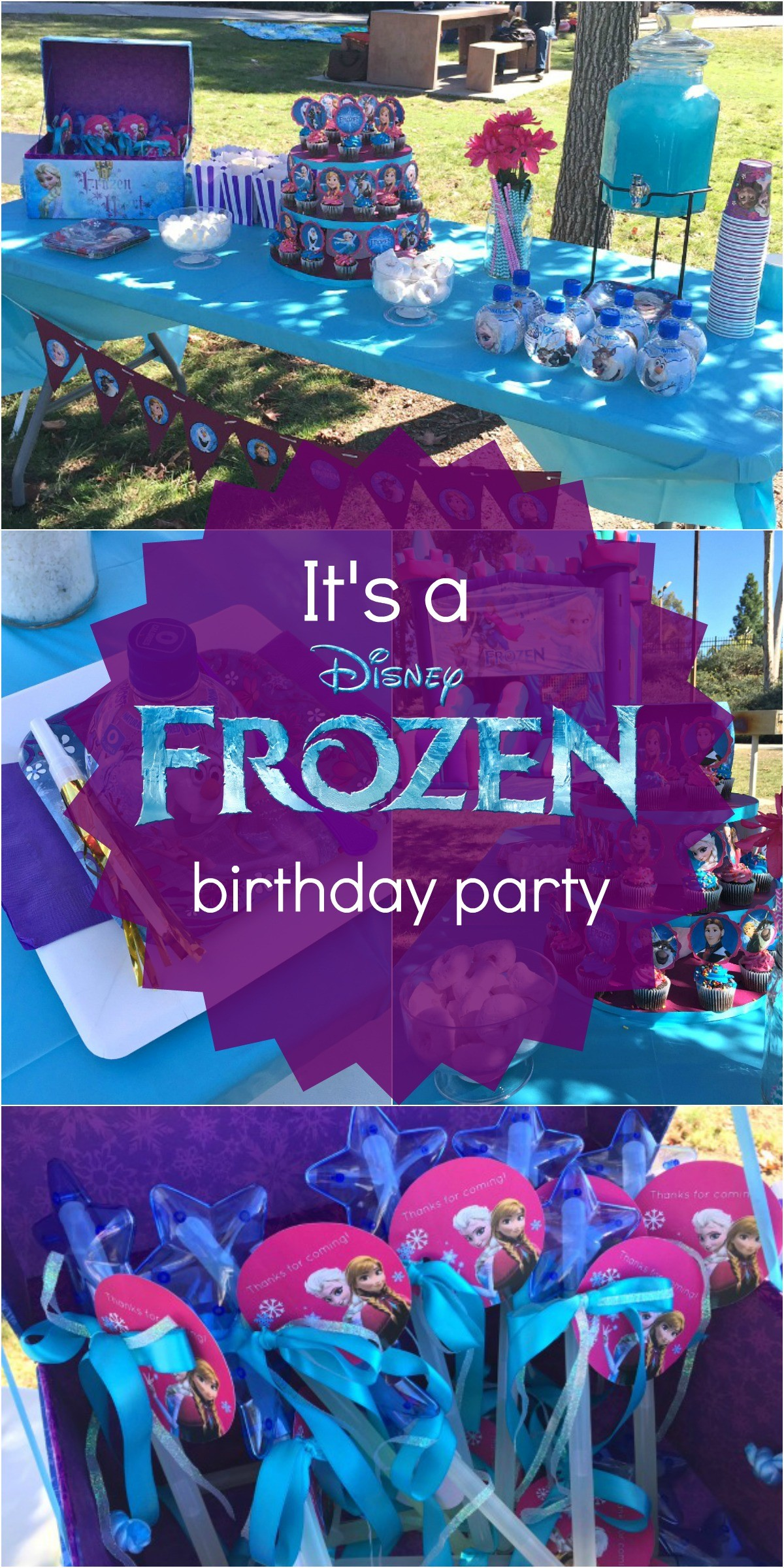 Frozen birthday party ideas pink purple blue and a jumper too