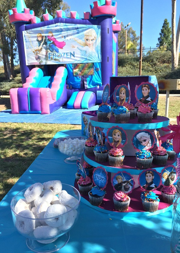 Frozen birthday party ideas homemade cupcake tower and frozen jumper