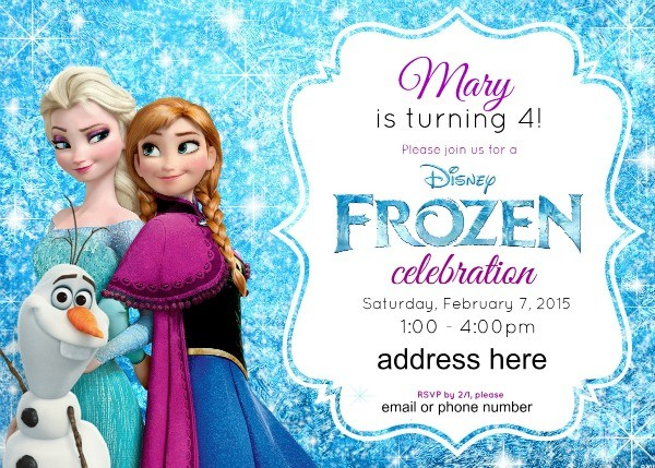 Free editable Frozen Party Invitations - personalized Frozen birthday invitations