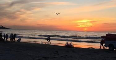 Sunset at La Jolla Shores Beach, San Diego, California, April 2015