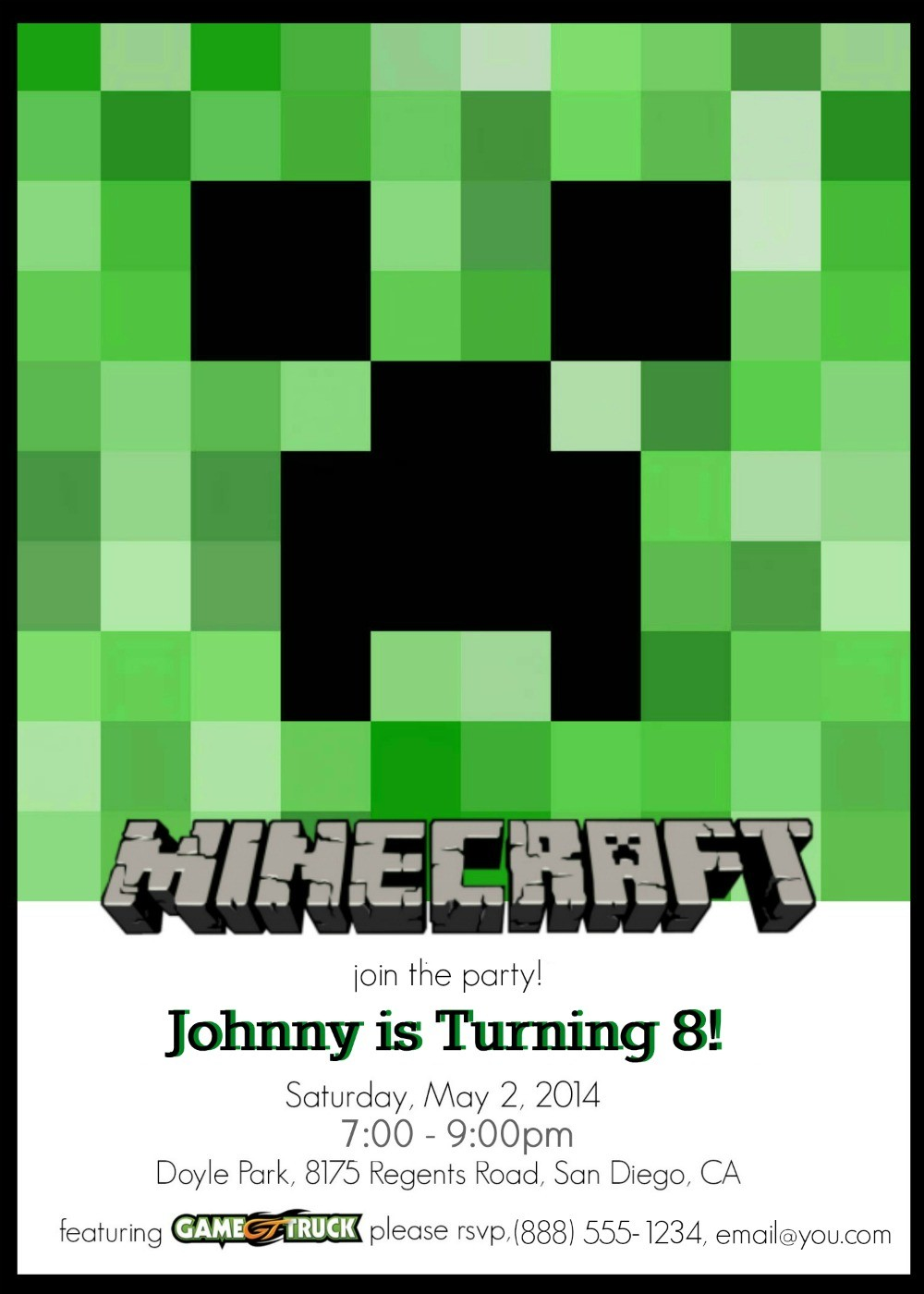 Sample of FREE printable Minecraft party invitations - You can make these custom invitations for a Minecraft birthday party right at home!
