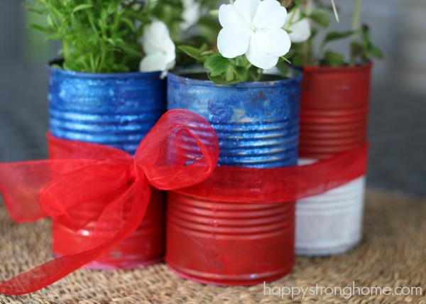 Patriotic tin can planter craft