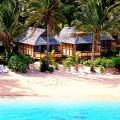 Palm Grove Resort, Rarotonga, Cook Islands aerial view of beach bungalows