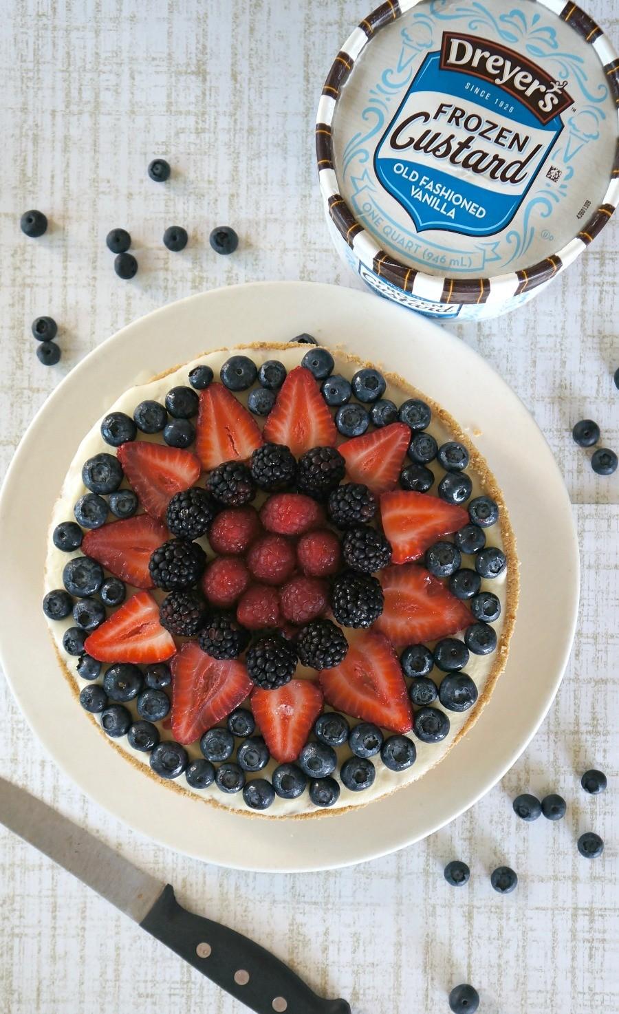 Summer Dessert recipes: Frozen Mixed Berry Vanilla Custard Pie