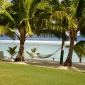The Sunset Resort, swaying hammock in a peaceful paradise, Rarotonga, Cook Islands