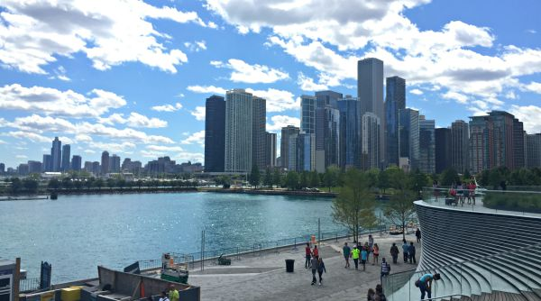 Kids In Chicago View Of Downtown From The Navy Pier