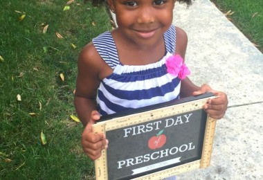 Pretty Mixed Natural Girl First Day of School